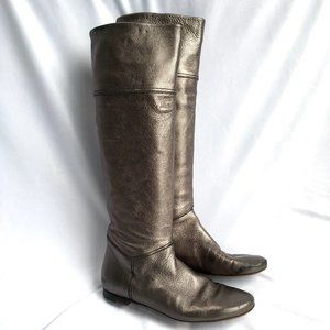 Barbara Bui knee high boots pewter leather flat 39